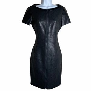 T Tahari Lalita Faux Leather Zip Front Dress 2